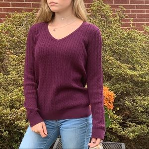 Deep purple Cable Knit Talbots sweater